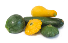 Summer Squash.  Unlike winter squash, summer squash can be eaten rind, seeds, and all.  The different varieties vary in size, shape, and color, but they can be used interchangeably in recipes.  Select summer squash that's small and firm.